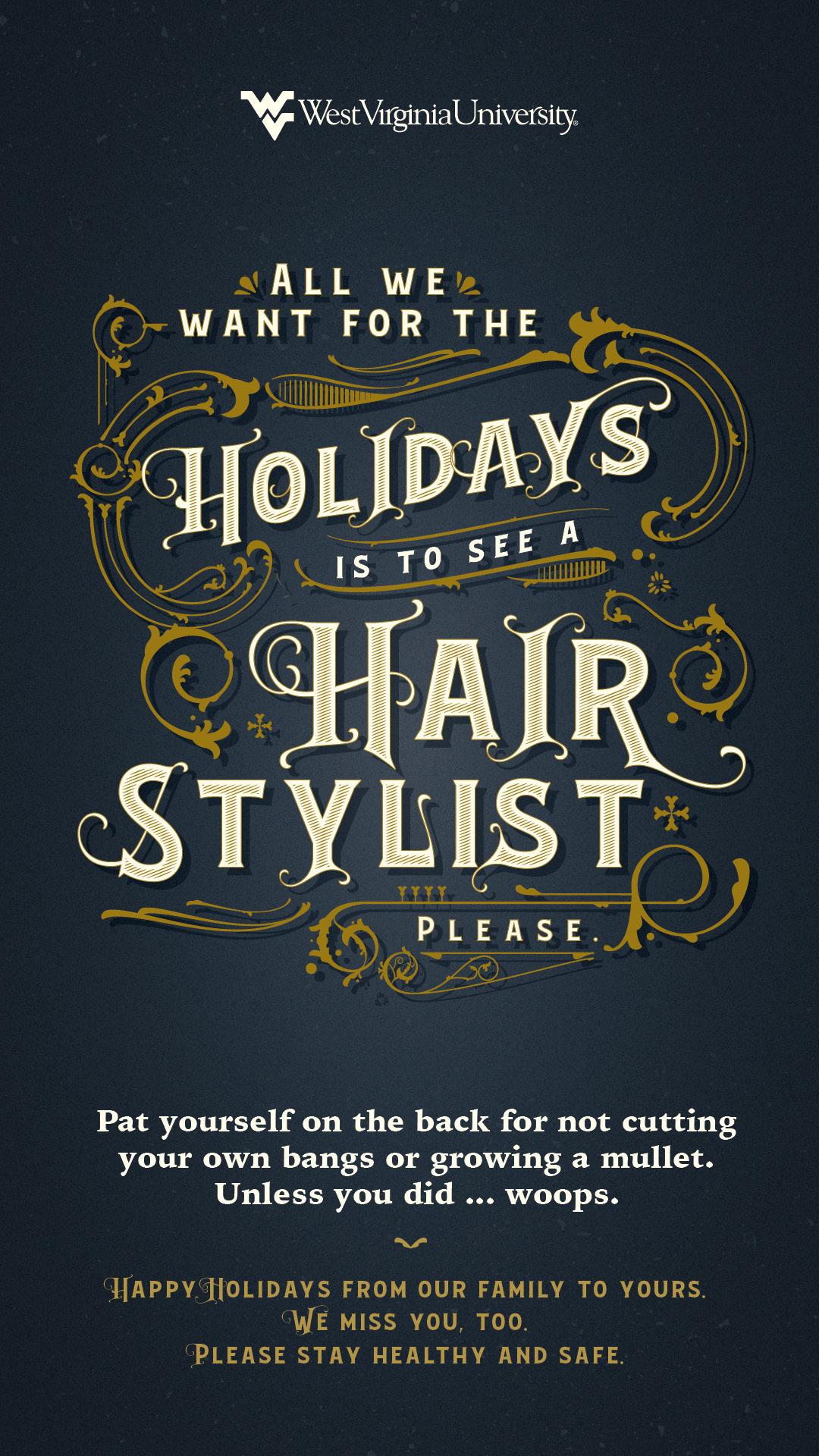 All We Want for the Holidays is to See a Hair Stylist Please poster. Poster content below image.